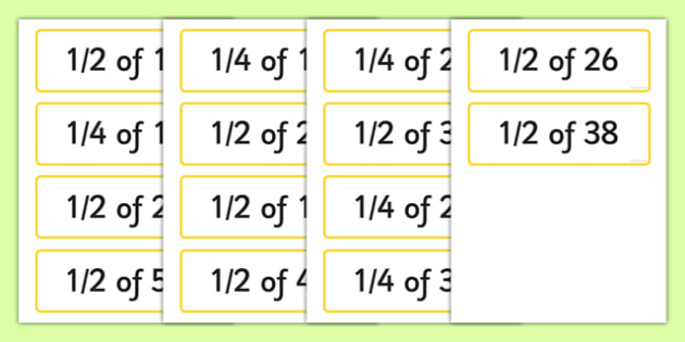 Half and Quarters Numbers Up to 50 Challenge Cards - half, quarter