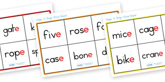 Magic E Bingo Game - E, magic E, word games, letters, bingo, game
