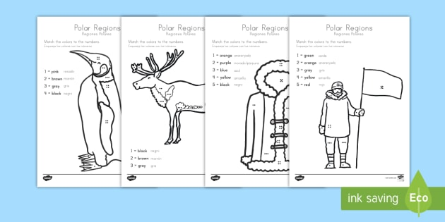 Polar Regions Color by Number Counting Activity Sheet US English ...