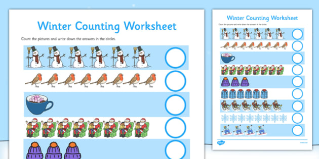 My Counting Worksheet (Winter) - Counting worksheet, winter, counting, activity, how many, foundation numeracy, counting on, counting back, skis, ice skates, polar bear, whale, penguin, huskey, snow, winter, frost, cold, ice, hat, gloves