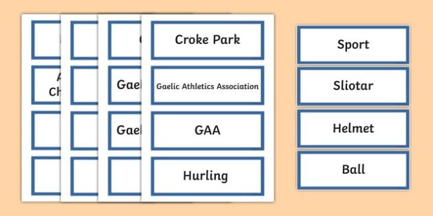 GAA Vocabulary Word Cards - gaa, vocabulary, word cards, irish, gaeilge