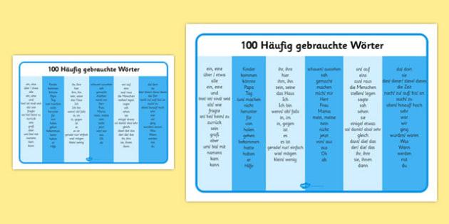 100 Häufig gebrauchte Wörter - german, word mat, frequency words