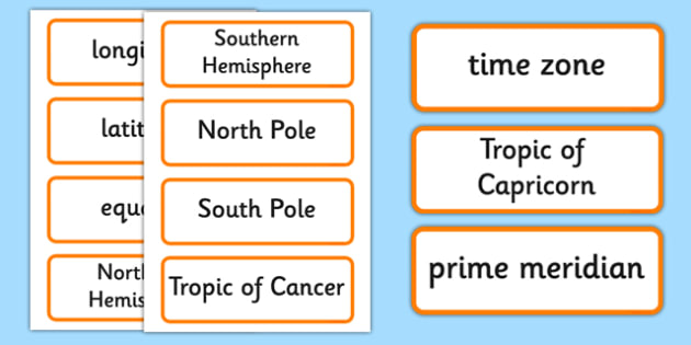 Lines of Latitude and Longitude Word Cards - lines, latitude, longitude, word cards