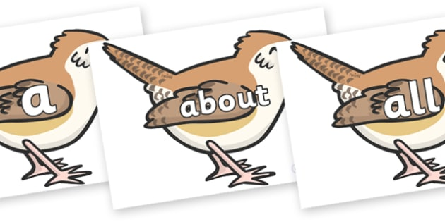 100 High Frequency Words on Wrens - High frequency words, hfw, DfES Letters and Sounds, Letters and Sounds, display words