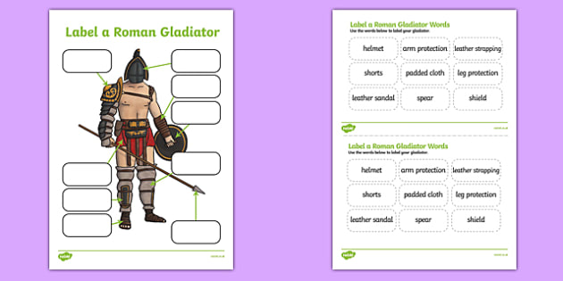 Roman Gladiator Clothing Labelling Activity Sheet- roman, gladiator