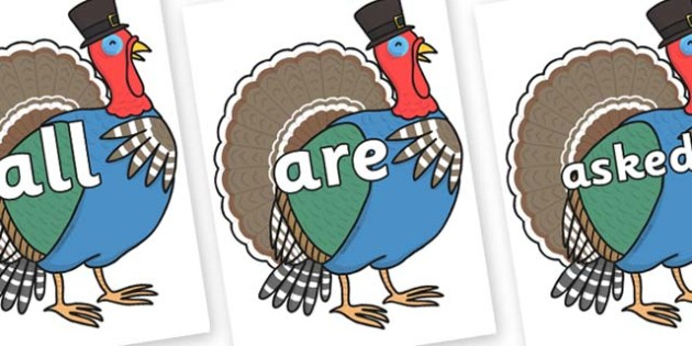 Tricky Words on Turkey Lurky - Tricky words, DfES Letters and Sounds, Letters and sounds, display, words