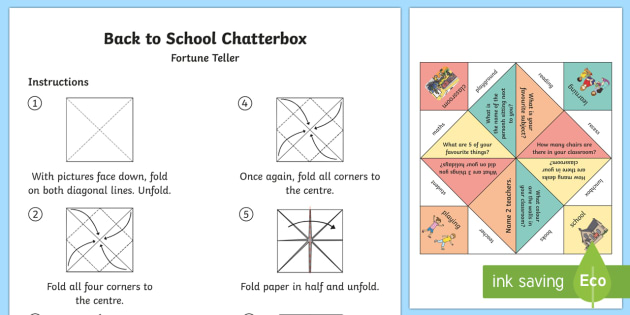 Back to School Chatterbox or Fortune Teller - Back to School, back to school, back to school game, icebreaker games, getting to know you, first da