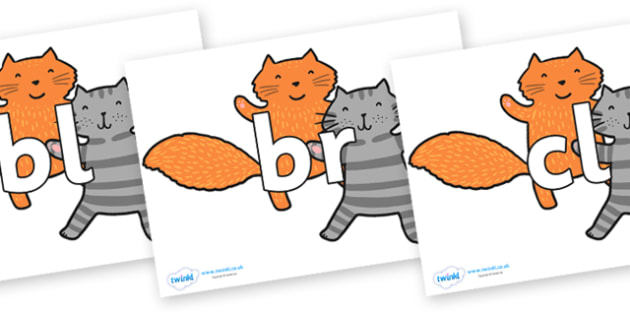 Initial Letter Blends on Cats to Support Teaching on What the Ladybird Heard - Initial Letters, initial letter, letter blend, letter blends, consonant, consonants, digraph, trigraph, literacy, alphabet, letters, foundation stage literacy
