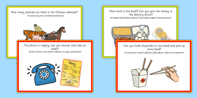 Chinese Takeaway Challenge Cards Polish Translation - polish, chinese takeaway, challenge, cards