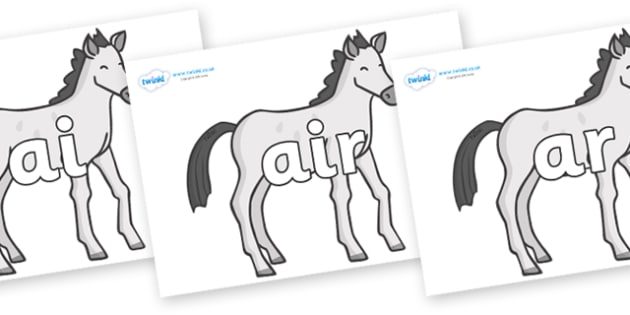 Phase 3 Phonemes on Ponies - Phonemes, phoneme, Phase 3, Phase three, Foundation, Literacy, Letters and Sounds, DfES, display