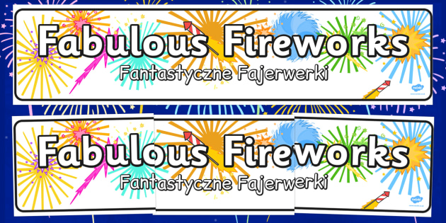 Fabulous Fireworks Display Banner Polish Translation - polish