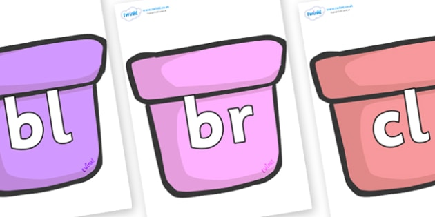 Initial Letter Blends on Plant Pots - Initial Letters, initial letter, letter blend, letter blends, consonant, consonants, digraph, trigraph, literacy, alphabet, letters, foundation stage literacy