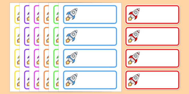 Editable Drawer - Peg - Name Labels (Rockets) - Rocket Label Templates, rockets, Resource Labels, Name Labels, Editable Labels, Drawer Labels, Coat Peg Labels, Peg Label, KS1 Labels, Foundation Labels, Foundation Stage Labels, Teaching Labels