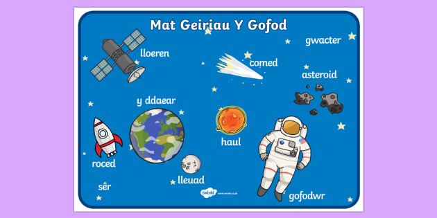 Space Scene Word Mat Welsh Translation - gofod, visual aid, space