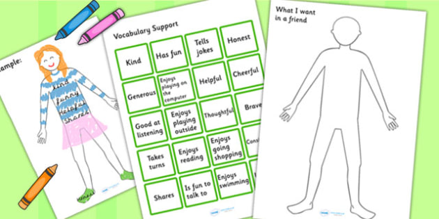 What I Want In A Friend Activity - making friends, communication