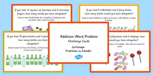 KS1 Addition Word Problem Challenge Cards Romanian Translation - romanian, ks1, addition, word problem, maths