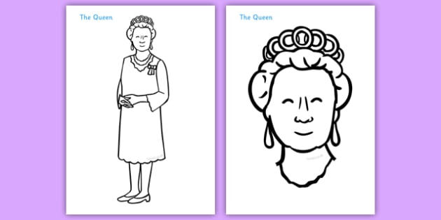 The Queen Colouring Poster - Queen, Elizabeth, royal, family, poster, display, sign, Prince philip, monarchy, monarch