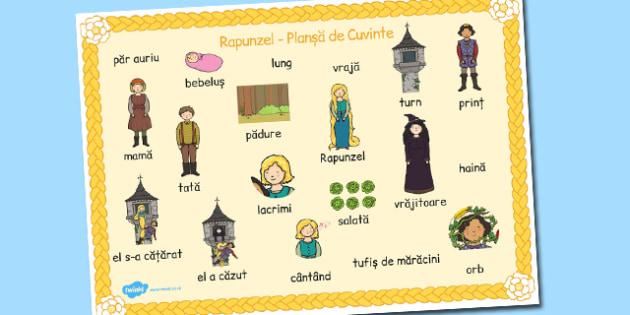 Rapunzel, Plansa cu imagini si cuvinte din poveste, cuvinte cheie, Romanian