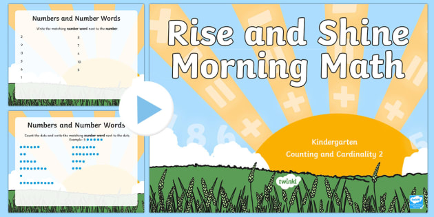 Rise and Shine Kindergarten Morning Math Counting and Cardinality 2 PowerPoint - Morning Work, Kindergarten Math, Counting and Cardinality, Numbers, Number Words