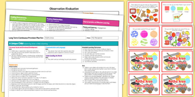 Maths Area Editable Continuous Provision Plan and Challenge Cards Pack Reception FS2