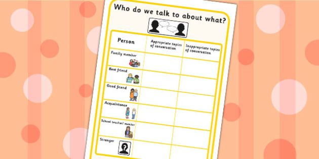 Who Do We Talk To About What Worksheet- SEN, discussion prompt, friends