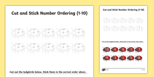Minibeast Themed Cut and Stick Number Ordering Activity 1-10