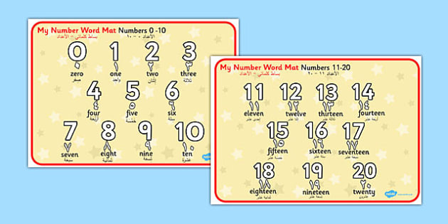 Numbers and Words 0-20 Word Mat Arabic Translation - arabic, number, words, 0-20, word mat