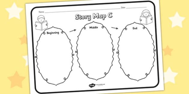 Story Map C Worksheet - story map C, story, stories, story map, story map worksheet, map stories, story worksheets, worksheets, literacy, english, reading