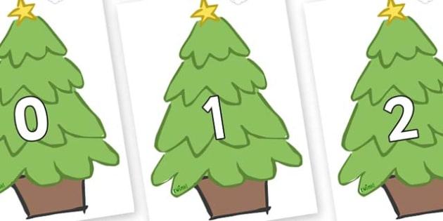 Numbers 0-31 on Christmas Trees (Plain) - 0-31, foundation stage numeracy, Number recognition, Number flashcards, counting, number frieze, Display numbers, number posters
