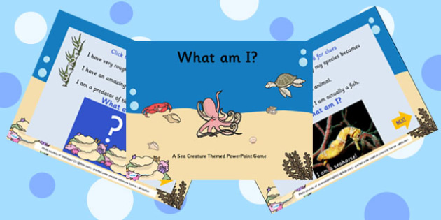 Under The Sea What Am I Interactive PowerPoint Game With Photos - under the sea, interactive powerpoint, what am I powerpoint, powerpoint game