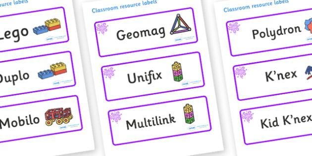 Purple Themed Editable Construction Area Resource Labels - Themed Construction resource labels, Label template, Resource Label, Name Labels, Editable Labels, Drawer Labels, KS1 Labels, Foundation Labels, Foundation Stage Labels