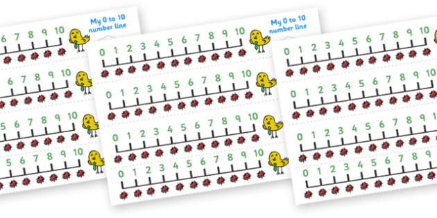 Ladybird Number Line (0-10) - Counting, Numberline, Number line, Counting on, Counting back, ladybird, animal, red, black