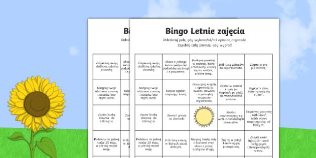 Bingo Letnie zajęcia po polsku