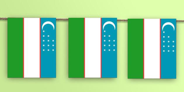 Uzbekistan Flag Bunting - Uzbek, asia, world, geography, rio, olympics, countries, country