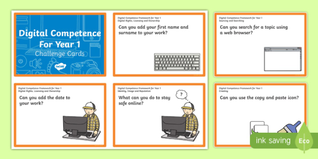Digital Competence for Year 1 Challenge Cards-Welsh