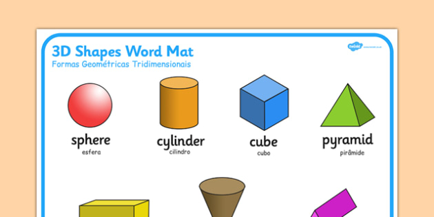Formas Geométricas Tridimensionais Portuguese Translation - portuguese, 3d shape, word mat, word, mat, 3d, shape