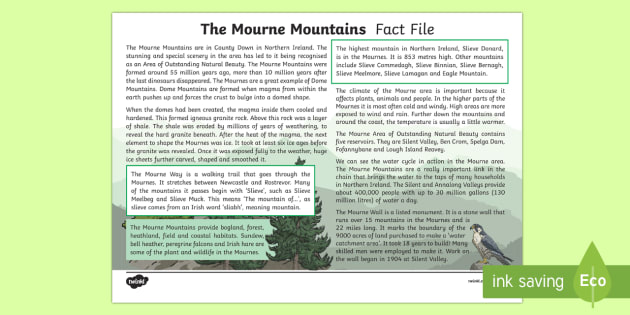 The Mourne Mountains Fact File - County Down, mountains, Northern Ireland, geology, geographym mourne