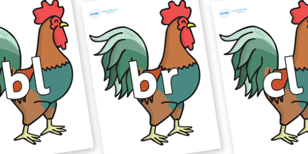 Initial Letter Blends on Rooster - Initial Letters, initial letter, letter blend, letter blends, consonant, consonants, digraph, trigraph, literacy, alphabet, letters, foundation stage literacy