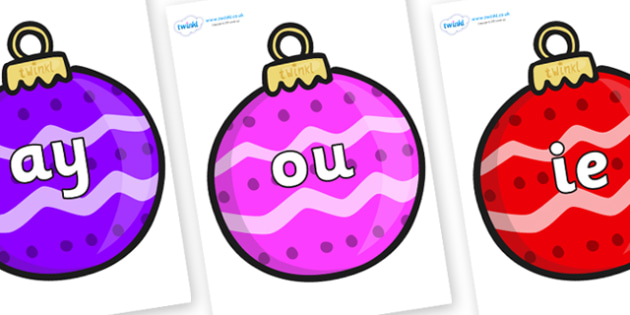 Phase 5 Phonemes on Patterned Baubles (Multicolour) - Phonemes, phoneme, Phase 5, Phase five, Foundation, Literacy, Letters and Sounds, DfES, display