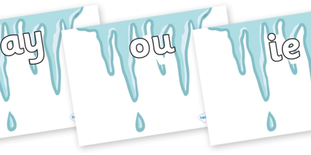 Phase 5 Phonemes on Icicles - Phonemes, phoneme, Phase 5, Phase five, Foundation, Literacy, Letters and Sounds, DfES, display