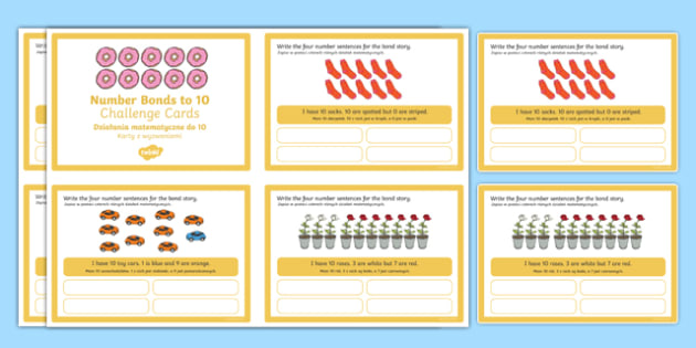 Number Bonds to 10 Stories Challenge Cards Polish Translation-Polish-translation
