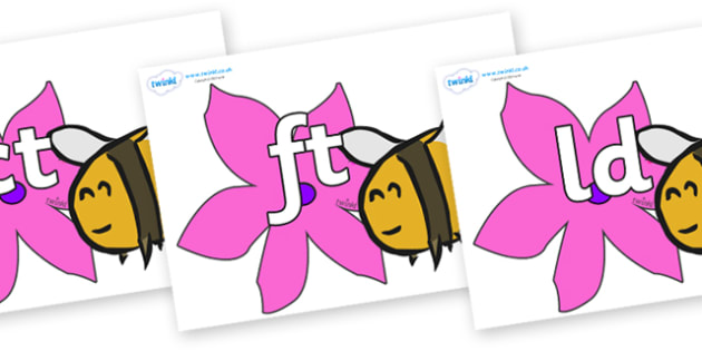 Final Letter Blends on Bees - Final Letters, final letter, letter blend, letter blends, consonant, consonants, digraph, trigraph, literacy, alphabet, letters, foundation stage literacy
