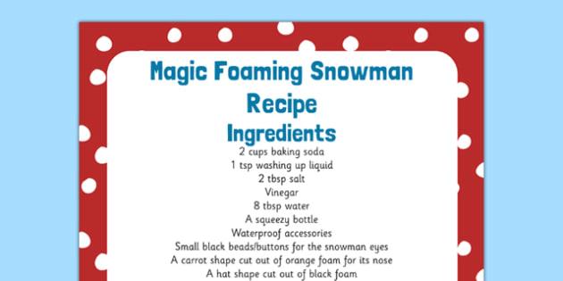 Magic Foaming Snowman Recipe - magic, foaming snowman, recipe