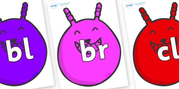 Initial Letter Blends on Space Hoppers - Initial Letters, initial letter, letter blend, letter blends, consonant, consonants, digraph, trigraph, literacy, alphabet, letters, foundation stage literacy