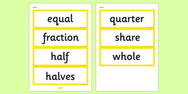 Year 1 2014 Curriculum Fractions Vocabulary Cards - fraction, math