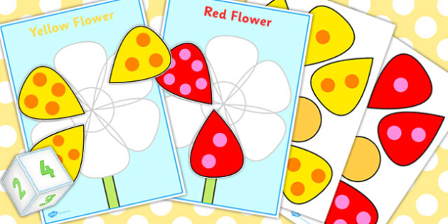 Flower Dice Game - flower, dice, game, activity, flowers, die