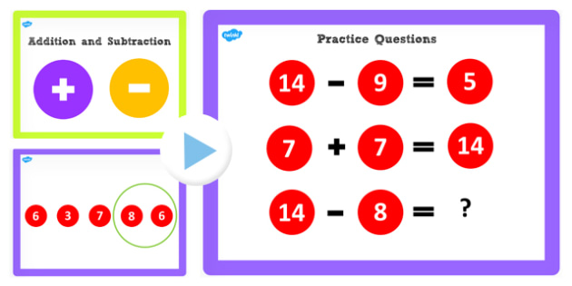 Addition and Subtraction Facts to 14 PowerPoint - add, subtract