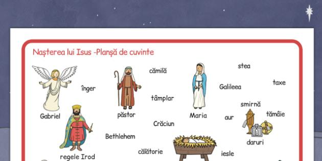 Nasterea Domnului, Plansa cu imagini si cuvinte -  Isus