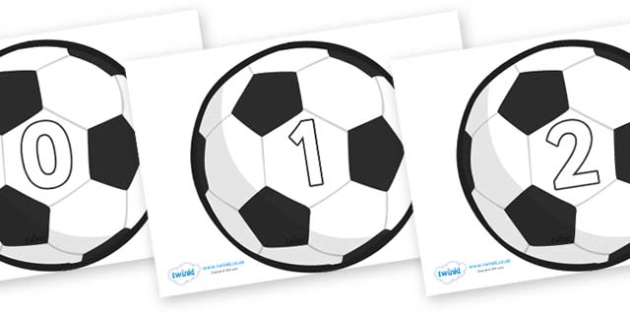 Numbers 0-31 on Football - 0-31, foundation stage numeracy, Number recognition, Number flashcards, counting, number frieze, Display numbers, number posters