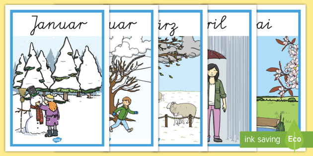 Months of the Year Seasons Posters German - german, months, year, seasons, posters, display